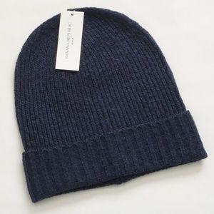 Banana Republic Blue Wooly Knit Cuffed Beanie Hat